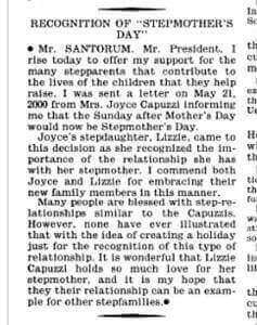 Stiefmuttertag Kongress USA