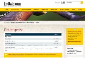 Preisliste Tierpark Hellabrunn